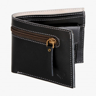 Black leather male wallet S