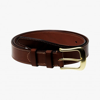 Brown leather female belt L