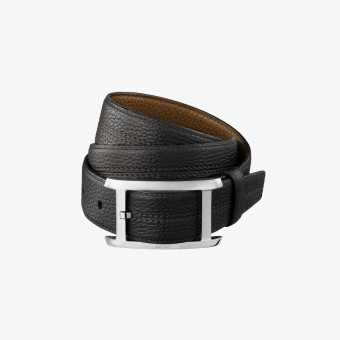 Black synth leather unisex belt L