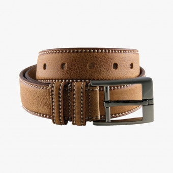 Brown leather unisex belt XL