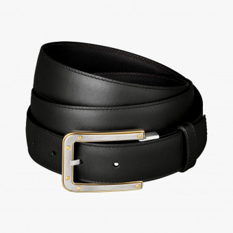 Black synth leather female belt XL