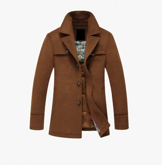 Brown cotton male coat L