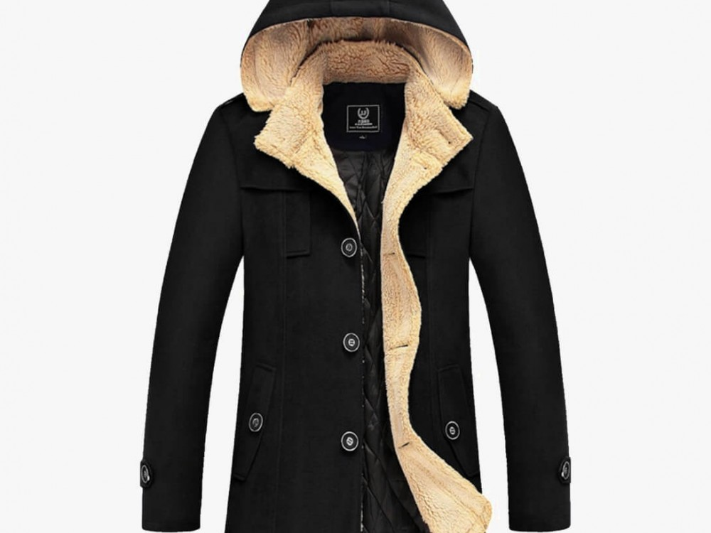 Black cotton male coat S