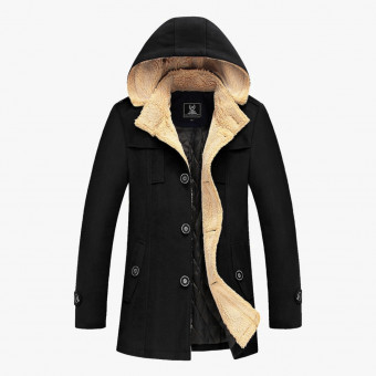 Black cotton male coat S