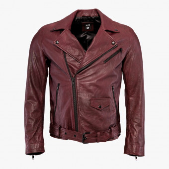 Brown leather male jacket M