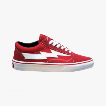 Red synth leather sneakers 7.5