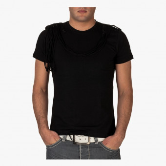Black polyester male t-shirt L